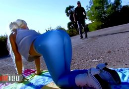 Miss Stacy in hot tight shiny leggings fucked hard outdoors